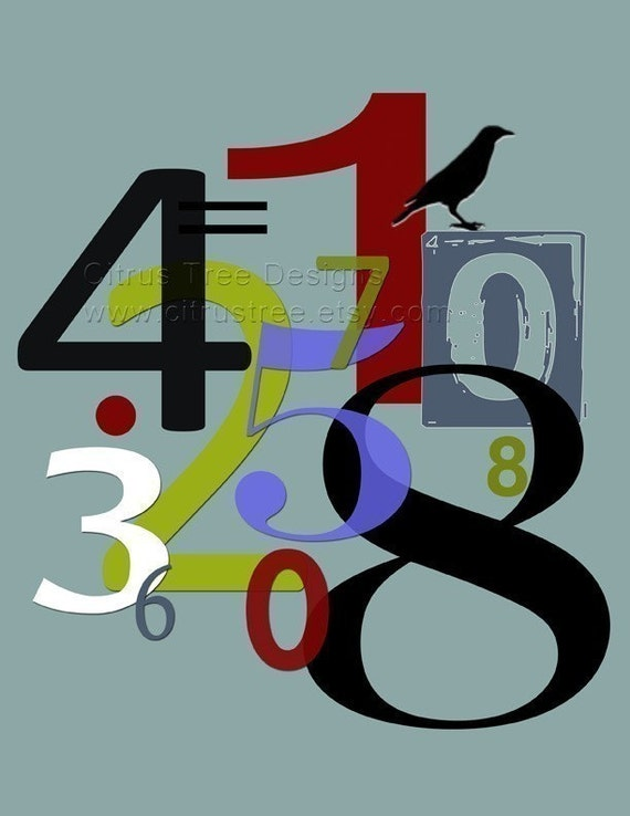 NUMBERS 4 - Original Illustration Fine Art Print - Signed and Dated --BUY 2 GET 1 FREE--