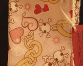 Burp Cloth or Bitty Blanket-Pink Hearts and Skulls
