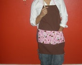 Pink Cupcake and Brown Tea Towel Bib Style Apron