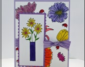 Bright floral handmade all occasion greeting card