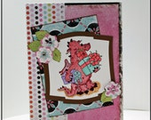Handmade  birthday greeting card pink dragon