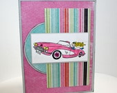 Handmade greeting card girl in classic car