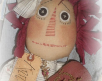 Primitive INSTANT DOWNLOAD PATTERN Raggedy Ann Annies Heart  149