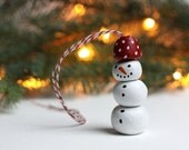 Snowman Ornament with Red Hat