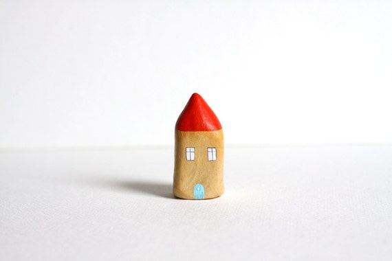 Little Home No 169 - Orange and light brown little clay house