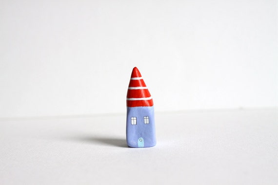 Little Home No 180 - Orange and purple with white stripes little clay house