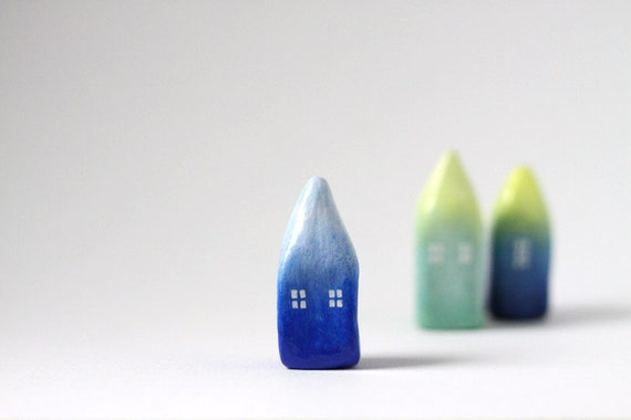 Little Home No 197 - Ombré little clay house - Cobalt blue and light blue