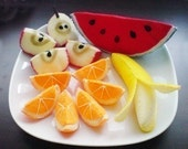 Felt Fruit Slices - Apple Orange Banana Watermelon (Patterns and Instructions via Email)