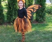 Halloween Monarch Butterfly Orange and Black Costume size - any size  with shirt 4t, 3t, 2t, 18m, 12m