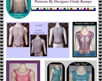 5 Tank Tops to Go  Crochet Patterns by Designer Cindy Kamps