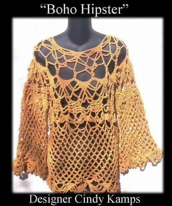 Boho Crochet Patterns : Boho HIPSTER Crochet Tunic Pattern by crochetbayboutique on Etsy