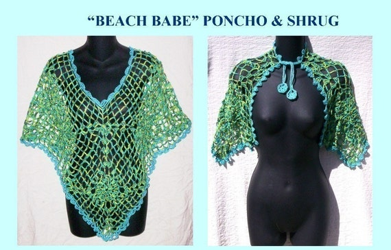 2 BEACH BABE Crochet Patterns  Shrug and Poncho By Cindy Kamps