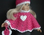 18 Inch Doll Valentine Poncho Set Crocheted by Lavenderlore to fit the American Girl Doll Made to Order - You Choose Style and Color