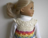 18 Inch Doll Clothes Crocheted Rainbow Sweater Top Handmade to Fit the American Girl Doll