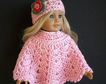 """18 Inch Doll Clothes: Crocheted Poncho Set with Flowered Hat Handmade to Fit the American Girl and Other 18"""" Dolls - You Choose Color"""
