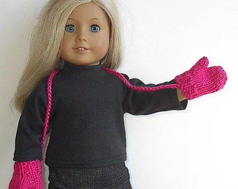 18 Inch Doll Clothes - Knit Mittens Handmade by Lavenderlore to fit the American Girl doll - Custom Made You Choose Color