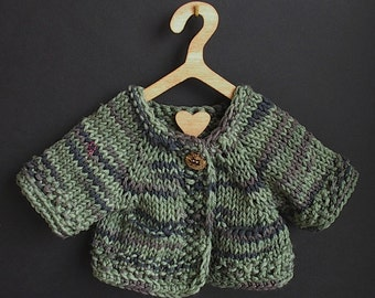 Waldorf Doll Knit Sweater with Pockets for Boy Doll in Cotton Olive Green Multi Yarn - 16 Inch Waldorf Doll Clothes