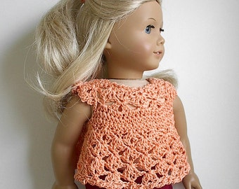 18 Inch Doll Clothes Crocheted Peach Top in Cotton Thread - Available in Other Colors - Made to Fit the American Girl Doll