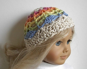 "18 Inch Doll Clothes: Crocheted Cotton Beanie Rainbow Hat for 18"" Dolls"