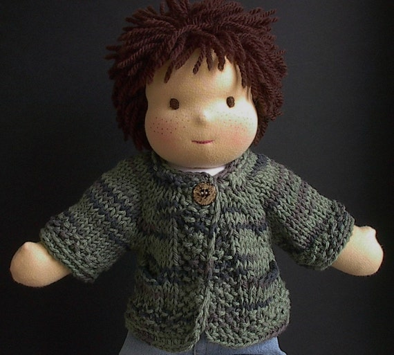 Waldorf Doll Clothes - Handknit Cotton Sweater with Pockets for Boy Doll - Olive Green Multi