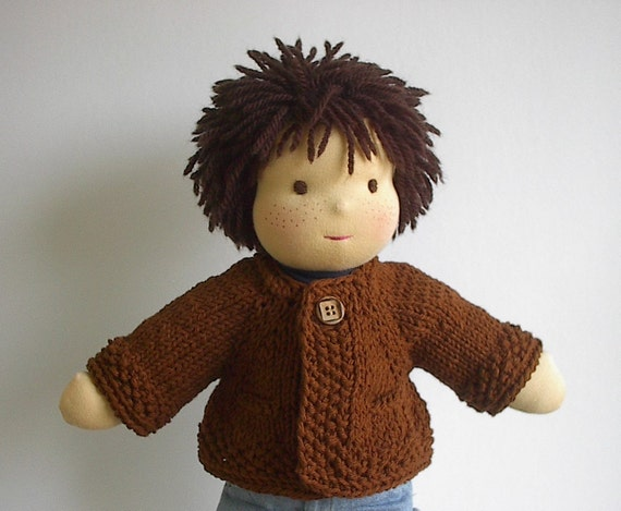 Waldorf Doll Clothes: Handknit Cotton Sweater with Pockets for 14 to 16 Inch Boy Doll - Clove Brown - Made to Order