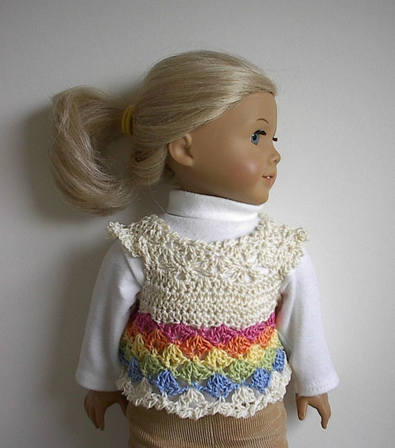 American Girl Doll Clothes Crocheted Rainbow Sweater Top for 18 Inch Doll