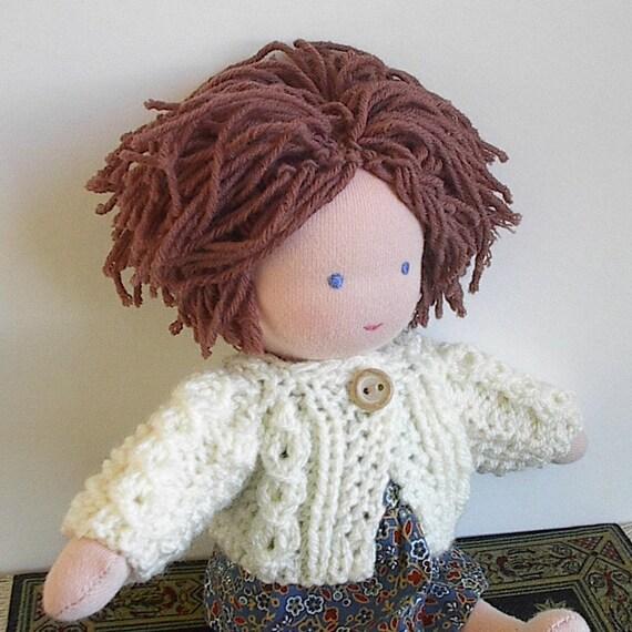 Waldorf Doll Clothes Handknit Irish Fisherman Sweater for 8 to 9 Inch Waldorf Doll in Aran Cream