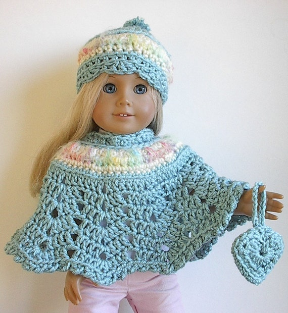 Crocheting Doll Clothes : American Girl Doll Clothes Crocheted Poncho Set in Seafoam Teal for 18 ...