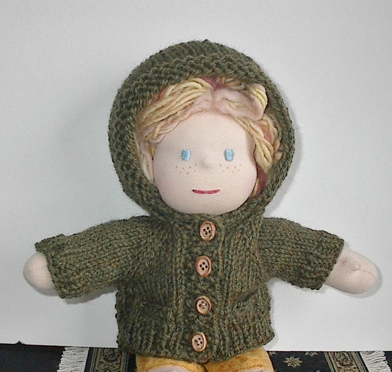 Waldorf Doll Clothes Handknit Hoodie Sweater for 10 to 12 Inch Waldorf Doll - Loden Green - Made to Order