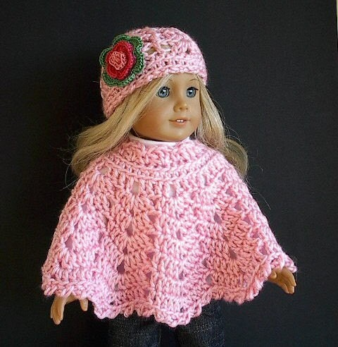 Crocheting Doll Clothes : 18 Inch Doll Clothes: Crocheted Poncho Set with by Lavenderlore