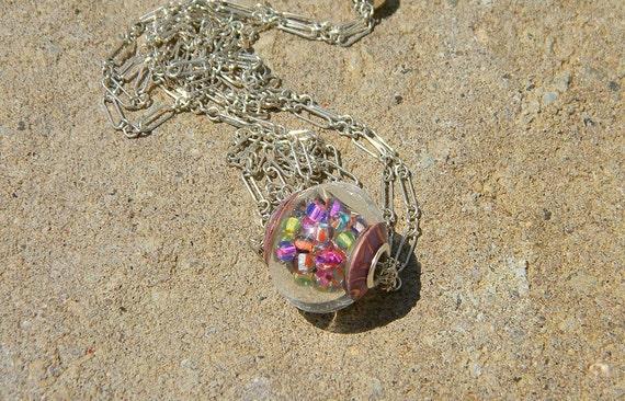 Handmade Lampwork Glass Bead - MINI snow globe hollow, large hole,  silvered cored -   SRA