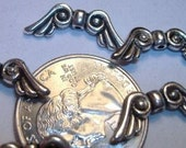 Silver Plate Metal ANGEL\/BIRD Wing Spacer Beads