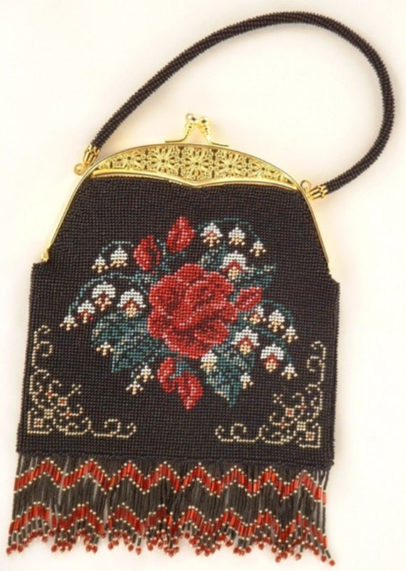 Crochet Beaded Purse Pattern : Rose Purse Crocheted Beaded Purse Pattern PDF by CrochetNBeads