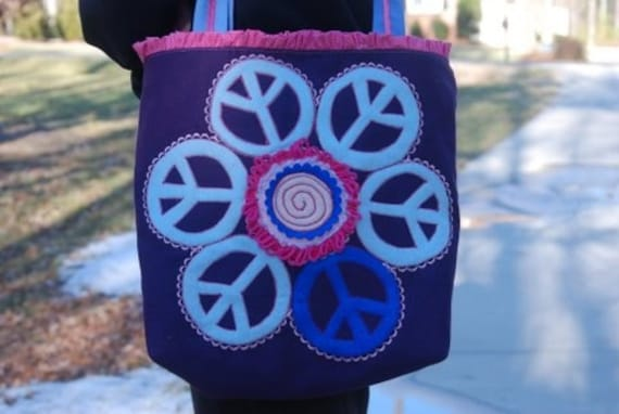 Busy Little Library Tote - Peace Flower