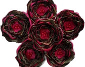 6 Handmade dark red, black and golden fabric flowers - sew on embellishments, wedding flowers, satin appliques