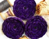 3 Handmade fabric flowers - big dark purple satin and lace appliques