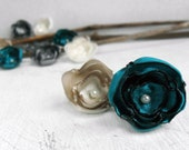 12 Handmade small fabric flowers in teal, cream, silver grey and beige