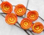 6 Handmade silk flowers - orange and yellow fabric appliques