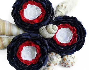 3 Big handmade white, red and navy blue fabric flowers