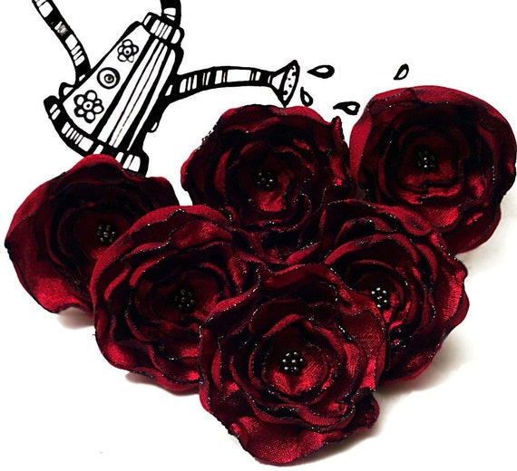 6 Handmade dark red fabric flowers