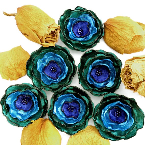 6 Handmade deep green,  turquoise and royal blue fabric flowers