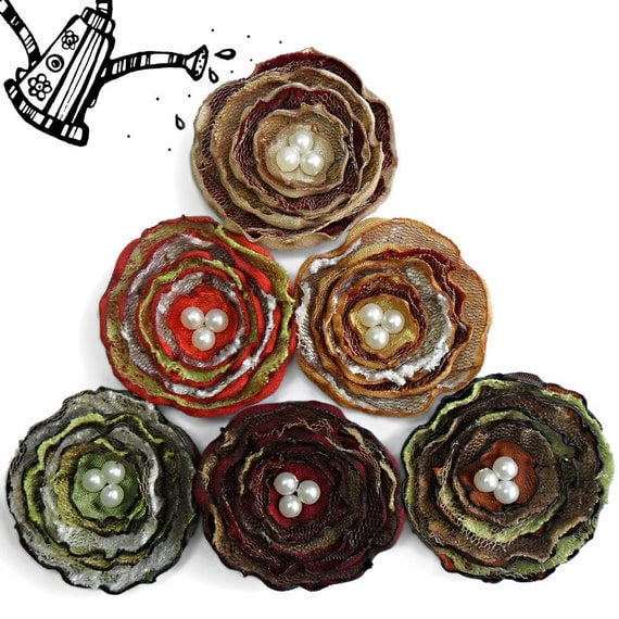 6 Handmade fabric flowers in beige, golden, dark red, burnt orange, green, brown and cream colors