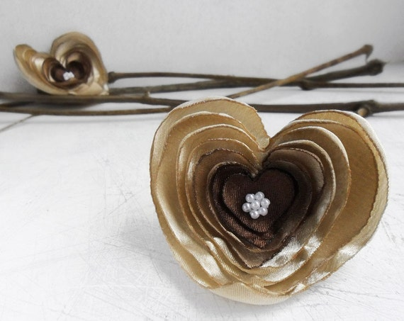 Brown and beige fabric heart brooches - set of two textile pins
