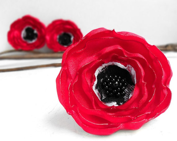 Red, white and black anemone flowers - 3 big handmade wedding flowers, sew on embellishments, satin applique flowers