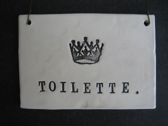 items similar to toilette plaque on etsy. Black Bedroom Furniture Sets. Home Design Ideas