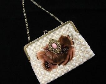 White Beaded Evening Bag Purse Peach Feathers Vintage Pendant Adornment
