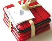 Fused Glass Coasters - Red Hot