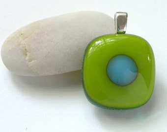 Little Lime Dot . Petite Fused Glass Pendant - Spring Green - New Leaf