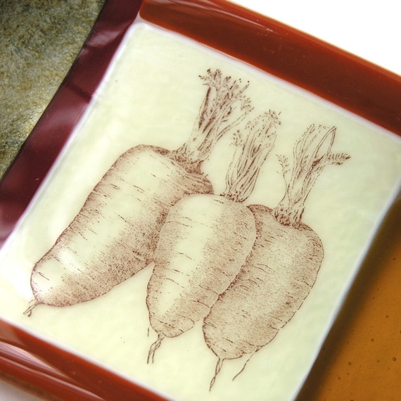 Vegetable Love - Fused Glass Dish . Vintage Print of Carrots - Vintage Graphics - Autumnal Art Glass Dish
