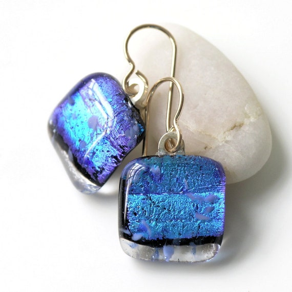 Petite Fused Glass Earrings - Shimmering Sapphire Blue - Dichroic